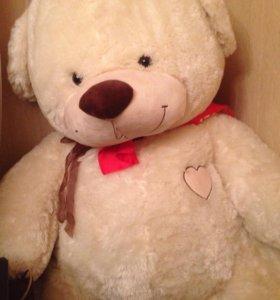 Большой плюшевый медведь,мишка Love кремовый 170 с