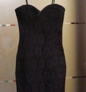 Вечернее новое женское кружевное чёрное платье