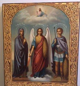 Икона «Трое Святых (Анна, Михаил, Дмитрий), 19 век