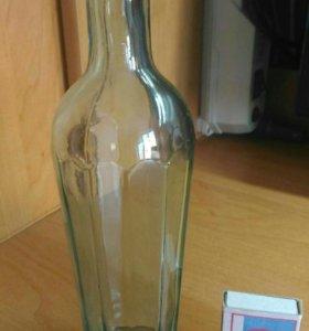 Винтажная бутылка из под масла 1950г. (Гранёная)
