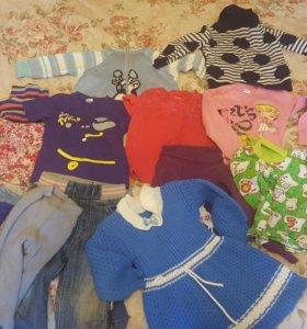 Вещи на девочку от 1-1,5 г. Футболки, джинсы, юбки