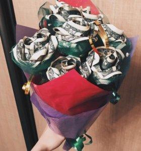 Цветы из купюр.