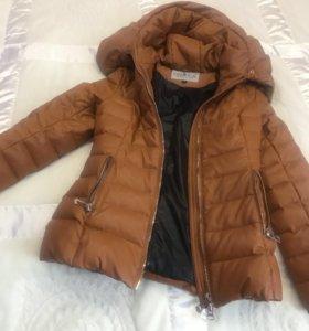 Новая зимняя куртка экокожа, пуховик