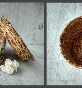 Плетеная коробка с крышкой ручной работы