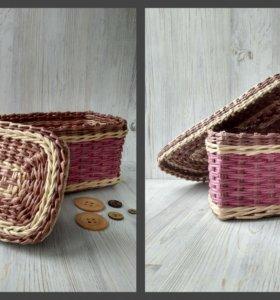 Плетеная коробка с крышкой №3 ручной работы