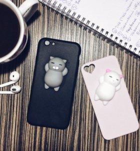 Чехол на IPhone 5s с котом, с помпоном, мрамор