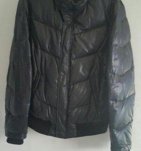 Куртка пуховик из кожзама