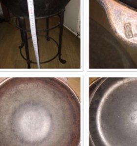 Казан чугунный на 8,5 литров с крышкой-сковородой