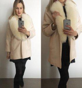 Пальто весеннее ( мех искуст.отстегивается)