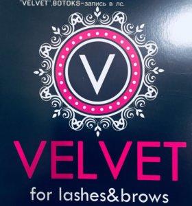 """Реконструкция ресниц и бровей """"velvet"""",Botox"""