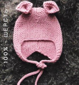 Детская вязаная шапочка с ушками