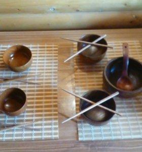 Набор деревянной посуды.
