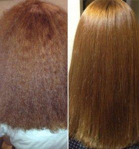 Кератиновое выпрямление,восстановление волос.
