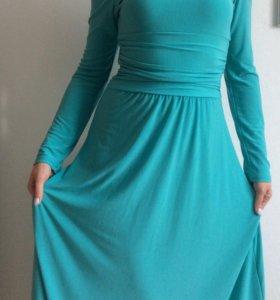 Платье трикотажное длинное двустороннее