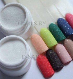 Акриловая пудра бело-прозрачная для дизайна ногтей