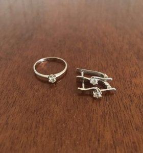 Кольцо, серьги (бриллианты, белое золото)