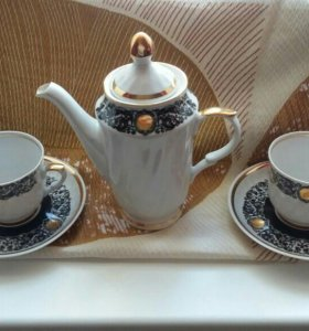 Рижский кофейный набор на 2 персоны.Фарфор.RPR.