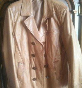 Кожаная мужская куртка пиджак размер 48/50