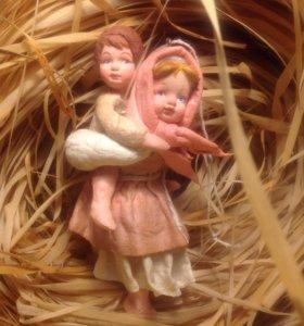"""Авторская ватная игрушка """"дети, бегущие от грозы"""""""