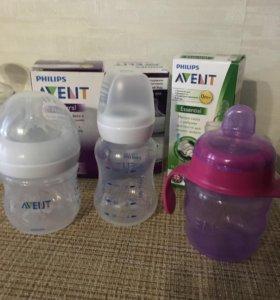 2 бутылочки и поильник