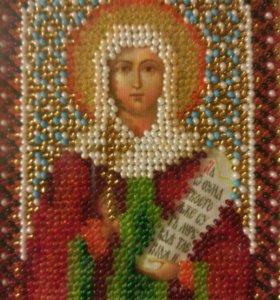 """Икона """"Св.Наталии"""",вышивка бисером."""