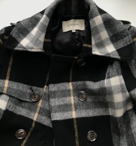 пальто в клеточку шерсть burberry