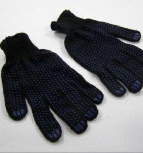 Перчатки х/б с ПВХ 5 нит. черные/серые/пестрые.