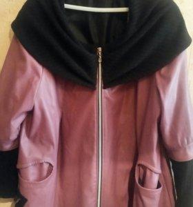 Легкий  кожаный пальто 56 размер