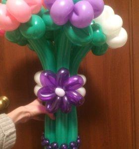 Подарок из шариков - букет ромашек