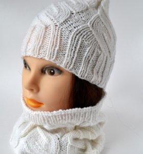 Вязаная шапочка и снуд, осенний комплект