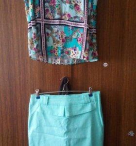 Блузка юбка. Размер 46