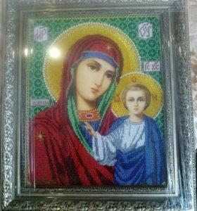 Икона бисером Казанская Божья Мать