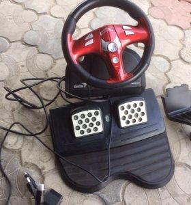 Руль для компьютерных игр с педалями