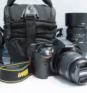 Nikon D5200 + 2 объектива, сумка, флешка, 2 акк-ра