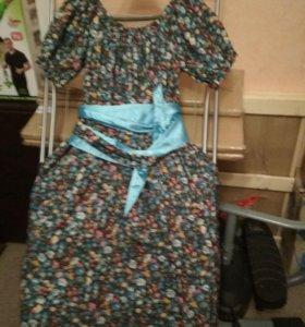Платье сарафан,карманы боковые ,кокетка на резинке