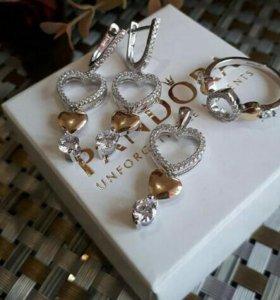 Серебро 925 комплект Сердечко с позолотой.