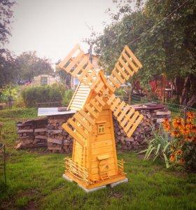 Мельница декор,для дачи,изделия из дерева