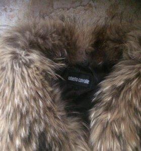 Кожаная куртка, воротник Енот