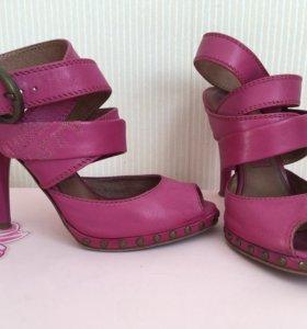 Туфли босоножки розовые женские кожаные