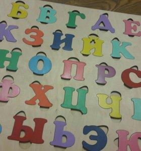 Алфавит деревянный, магнитный