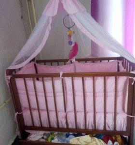 Детский кровать+ ортопедический матрас+бортик+