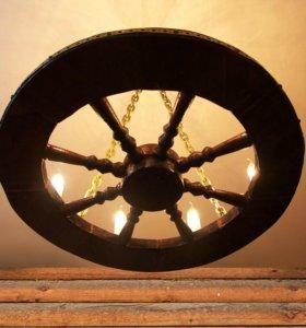 Большая люстра колесо телеги 75 см. диаметр