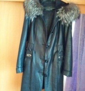Пальто весна-осень натуральный мех и кожа