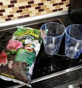 Почвогрунт для орхидей и прозрачные горшки новое