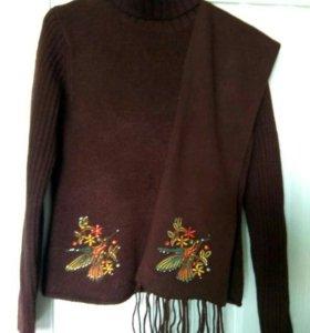 Женский свитер с шарфом р. 44