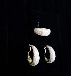 """Серебряные серьги и кольцо """"Сфера"""""""