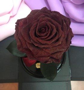 Роза в колбе ,ароматная с блестками!