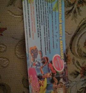 Бесплатный билет в аквапарк.