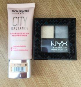 Тональный крем Bourjois City Radiance и тени Nyx