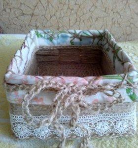 Декоративные корзинки из шпагата